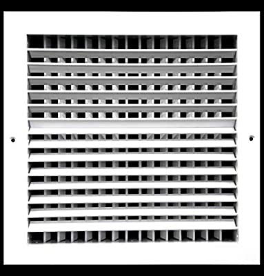 Aluminum Double Deflection Adjustable Air Supply HVAC Diffuser - Full Control Vertical/Horizontal Airflow Direction - Wide Front End Overlap - Vent Duct Cover