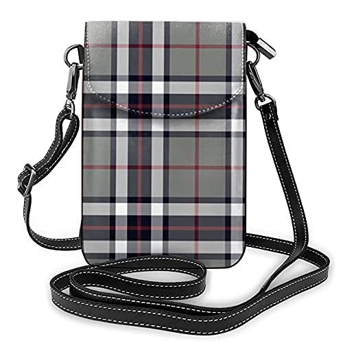 Bolso de cuero ligero de la PU pequeño bolso de Crossbody mini bolsa del teléfono celular bolsa de hombro con correa ajustable Thomson Thompson Tartan gris