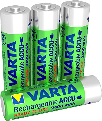 VARTA Rechargeable Accu Power vorgeladener AA Mignon Ni-Mh Akku (4er Pack. 2400 mAh) , wiederaufladbar ohne Memory-Effekt - sofort einsatzbereit