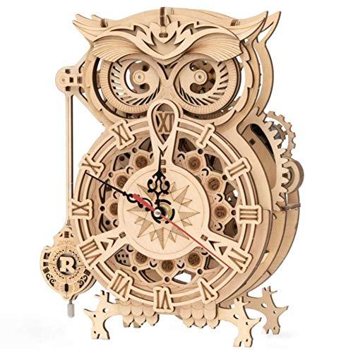 ERTGHJ Kit de Reloj de búho de Rompecabezas de Madera 3D, Juguete de ensamblaje de Bricolaje, Juguete Educativo de Rompecabezas de Regalo para niños, Adolescentes y Adultos.