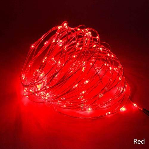 50M LED-snoer verlicht koperen slinger buiten verlicht creatieve lichten RGB voor tuinfeestdecoratie rood