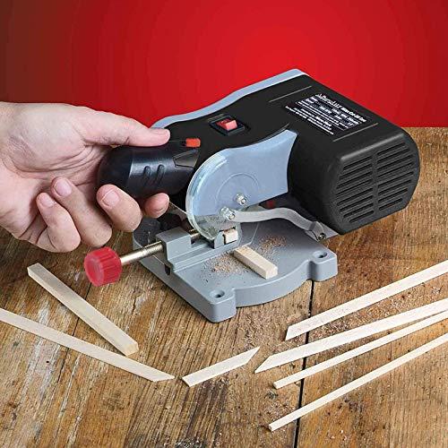 dami Mini Sierra Mesa,Sierra ingletadora Mesa Portátil Cortadora eléctrica Espesor Corte 12 mm para Corte plástico Madera Piedra Metales no ferrosos,Negro
