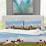 CUDEVS Romantic Dog Jack Russell Terrier,Queen Bed Sheet Set for Grey Singe