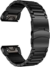 LDFAS Fenix 6X/5X Plus Band, Sport Quick Release Easy Fit 26mm Stainless Steel Metal Bands with Safety Buckle Compatible for Garmin Fenix 6X/6X Pro5X/5X Plus/3/3HR Smartwatch