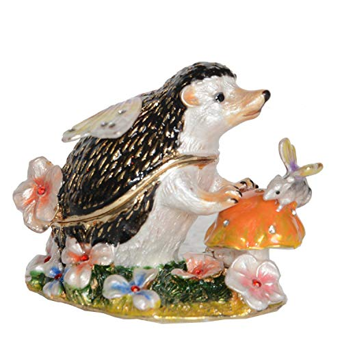 NOBRAND Caja de Baratijas Erizo Figuritas de Adornos de Metal Caja esmaltada con Joyas de Cristal