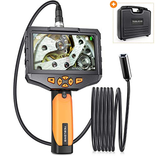 "Auto Focus Endoscope Camera, Teslong HD Autofocus Handheld Waterproof Borescope Inspection Camera with 4.5"" IPS Monitor - Always The Best Depth of Field - 32GB Memory Card & Tool Case Included"