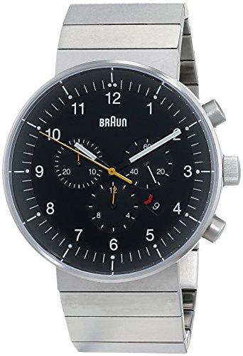 Braun Herren Analog Quarz Uhr mit Edelstahl beschichtet Armband BN0095BKSLBTG