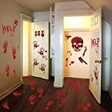 119 PCS Bloody Halloween Decorations Halloween Bloody Handprint Footprints Knife Stickers Window Wall Floor Clings Decals Horror Bathroom Zombie Party Decorations Supplies