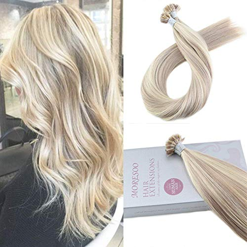 Moresoo 16 Zoll Echthaar Haarverlängerung Glatt Remy Bonding Fusion Keratin Remy Hair Brasilianer Echthaar Extensions 50g 1g/s Ash Blonde Highlighted with Blonde Blond Highlights Haar Extensions