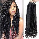 AISI BEAUTY Pre Looped Crochet Hair Goddess Crochet Locs Faux Locs Hair for Black Women 20'' Crochet Curly Hair Extension 6Packs/Lot 24 Roots(1B)