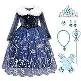 FYMNSI - Costume da principessa Elsa o Anna per bambina, a maniche lunghe, in tulle, per cosplay, feste di Carnevale, Natale, per bambine di 2-11 anni Blu scuro con accessori. 8-9 Anni