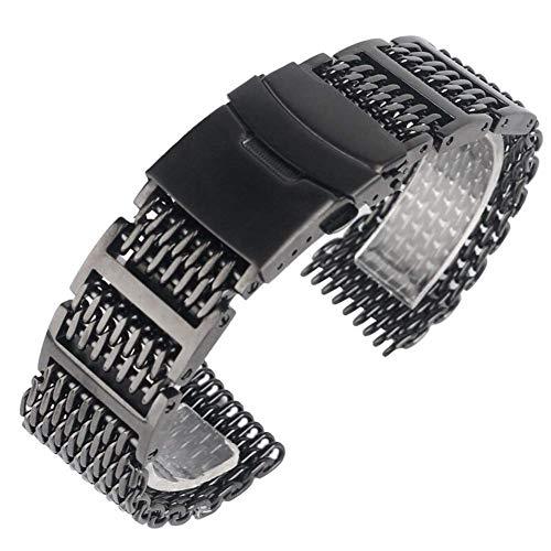 Uhrenzubehör 20/22 / 24mm Cool Outstanding Shark Mesh Armband Black Wrist Uhrenarmband Solid Link Edelstahl Ersatz für Männer und Frauen