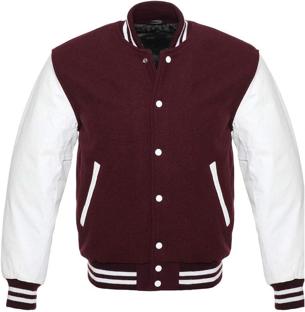 Varsity Letterman Baseball Bomber Retro Vintage Jacket Maroon Wool White Genuine Leather Sleeves