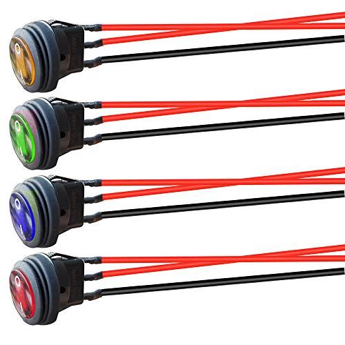 Gebildet 4pcs 12V-24V/10A Pre Cableado Impermeable Interruptor Basculante Redondo LED,3 Pin 2 Posición ON/Off SPST,Interruptor de Palanca para Coche Motocicleta Bote Marina(Rojo/Verde/Azul/Amarillo)