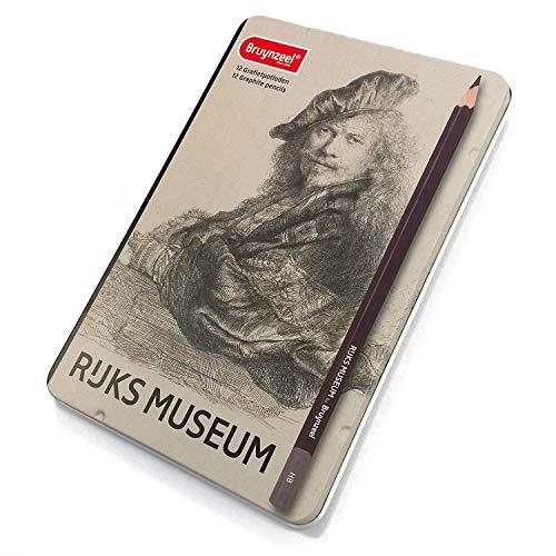 Bruynzeel - Rijks Museum Edition van 12 Grafiet Potloden - [2H - 9B] - Rembrandt Zelfportret
