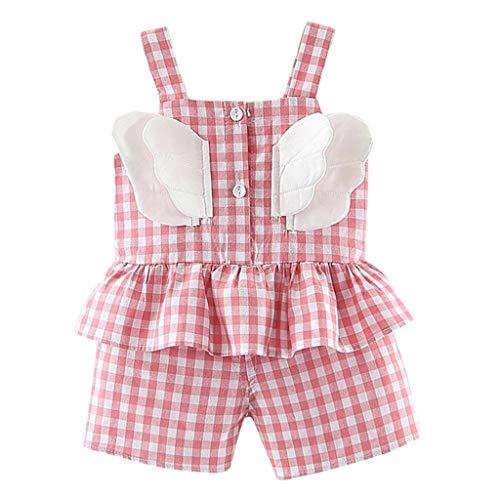 Julhold 2019 Lot de 2 shorts en coton à volants pour bébé 0-2 ans - Rose - 42 EU