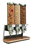 Rosseto EZ547 EZ-SERV Triple Container Table-Top Cereal Dispenser with Bamboo Tray, 3.9-Gallon Capacity, 9' Length x 21' Width x 26' Height