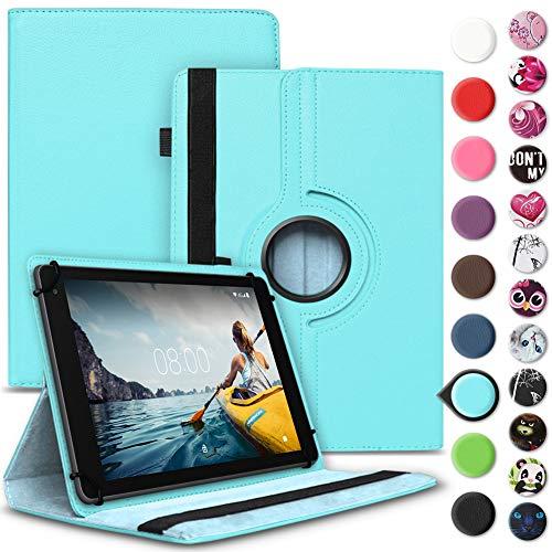 Nauci Tablet Hülle kompatibel für Medion Lifetab E10702 Tasche Schutzhülle Case Universal Cover aus Kunst-Leder Standfunktion 360° Drehbar praktische Standfunktion, Farbe:Türkis
