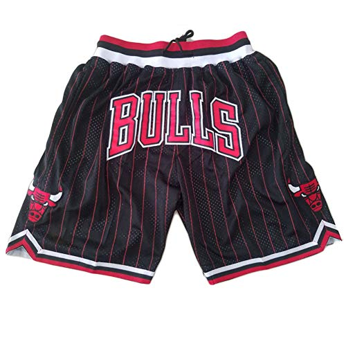 Student Basketball Shorts Bulls Fans Basketball Shorts, Stickerei Schnelltrocknende lose Shorts Black-A-XL