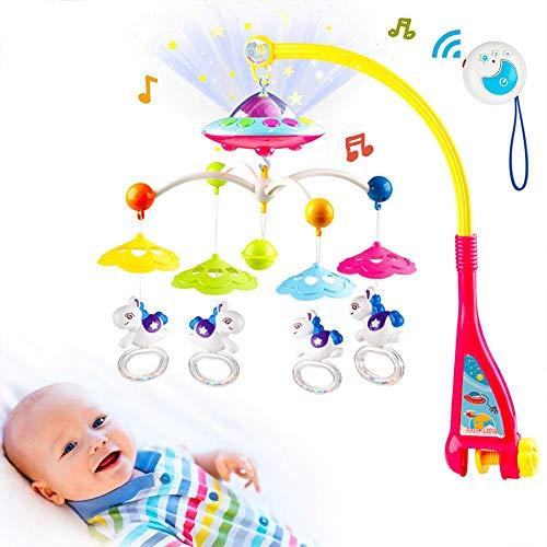 Juguete musical para cuna de bebé con luces y música cochecito de bebé colgante juguetes para bebé recién nacido, estrella musical proyector colgante campana giratoria proyección