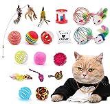 🐱【Jouets chat interactif】 :L'ensemble de jouets pour chats comprend 20 types de jouets pour chats, y compris des cloches, une baguette pour chat, des jouets pour chats sphériques, des jouets pour souris, des jouets pour chats, des jouets en plumes de...