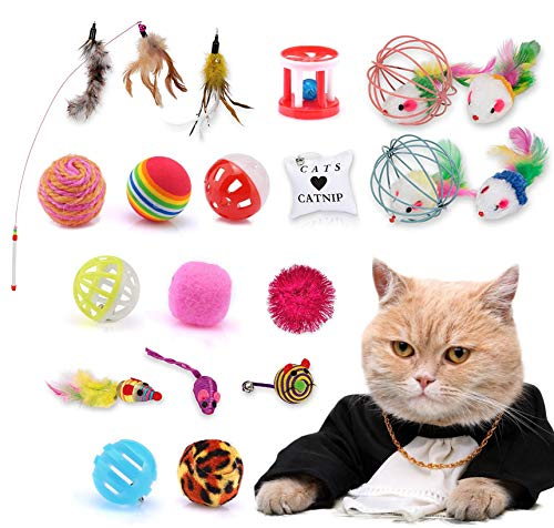 JIASHA Gioco per Gattino, 20 Pezzi Giocattoli per Gatti,Giocattoli interattivi per Gatti, Giochi Gatto Gatto Giocattoli Interattivi Gioco per Gattino Kitten Indoor