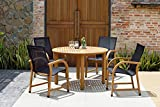 Amazonia Adelaide 5 Piece Round Eucalyptus Patio Dining Set | Teak Finish | Durable and Ideal for Outdoors