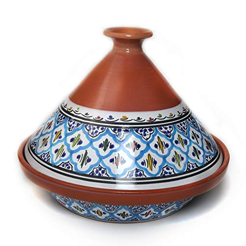 Kamsah Hand Made and Hand Painted Tagine Pot | Moroccan Ceramic Pots For Cooking and Stew Casserole Slow Cooker (Medium, Supreme Turquoise)