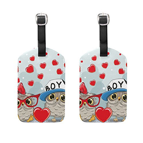 COOSUN Two Cute Owls Luggage Tags Travel Labels Tag Name Card Holder for Baggage Suitcase Bag Backpacks, 2 PCS