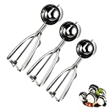 Ice Cream Spoons, 3pcs Melon Scoops 4/5/6cm Stainless Steel Cookie Scoop with Trigger Baking Spoon Scoopers for Fruit Melon Ice Cream