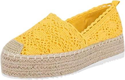 $25 » Sanyyanlsy Women Casual Canvas Hollow-Out Breathable Shoes Espadrilles Platform Slip On Lace Cover Heel Round Toe Shoe