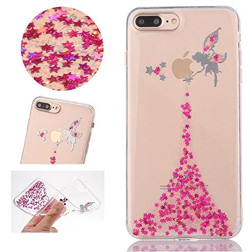 Sycode Coque pour iPhone 8 Plus,Ultra Mince Glitter Transparent Beau Rose Fée Fairy Modèle Silicone Strass Cover pour iPhone 8 Plus/7 Plus 5.5\