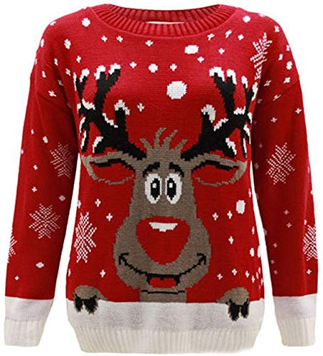 Maglione lavorato a maglia, con motivo di Rudolf, la renna di Natale, per bambini e bambine dai 2ai14 anni Red 9-10 Anni