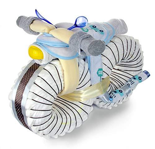 dubistda© XXL Windelmotorrad Jungen mit viel Zubehör / 67-teilig – Geschenk zur Geburt - Große Windeltorte Junge / 50cm