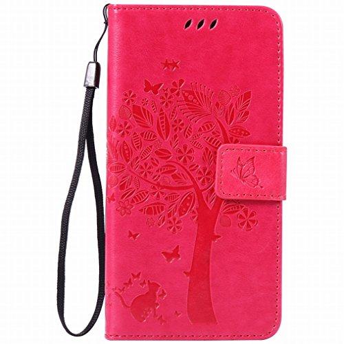 LEMORRY Hülle für Sony Xperia Z3+ Hülle Tasche Geprägter Ledertasche Beutel Schutz Schließung SchutzHülle Weich Silikon Cover Schale für Sony Z3+ (Z3 Plus, Z4, E6553), Glücklicher Baum Pink