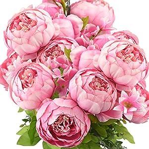 FiveSeasonStuff Vintage Artificial Peonies Silk Flowers and Hydrangeas for Wedding Bridal Home Décor – Beautiful Floral Centerpiece Arrangement Decoration with 2 Bouquets