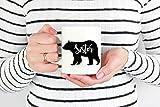 Promini - Tazza con orso sorella, idea regalo per sorella, migliore sorella, orso, famiglia, orso, sagoma in ceramica, tazza in ceramica, 425 ml, colore: bianco