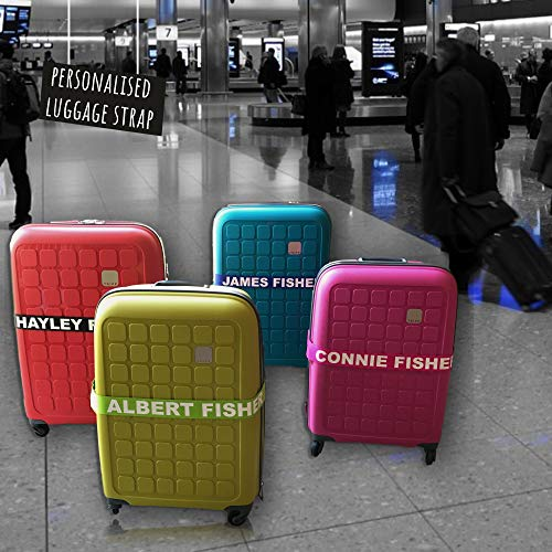 Personalised Luggage Strap Vibrant Colours - Safe Luggage 180cm x 5cm Set of 2 Straps - PR (2X Dijon)