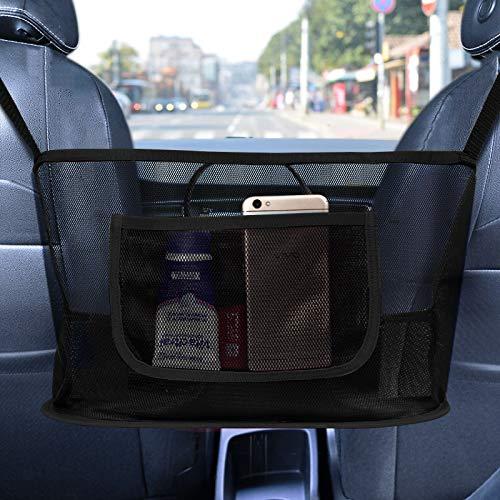 Kintim Car Net Pocket Handbag Holder, Durable Car Seat Storage and Handbag Holding Net, Thickened Polyester Fiber Hanging Storage Bag Between Car Seats for Carrier bag, Documents, Phone and More -Black