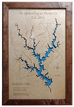 Jackson Lake Georgia  Framed Wood Map Wall Hanging