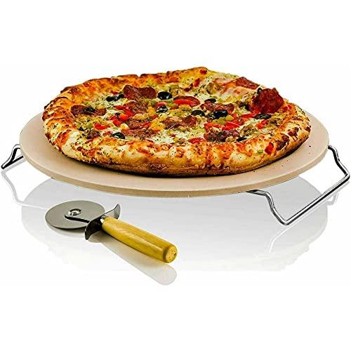 ATIN Pampered Pizza Stone - Horno redondo para horno de cocinero, grande, color natural