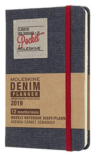 Moleskine 2019 Agenda Settimanale Denim 12 Mesi, con Spazio per Note, in Edizione Limitata Tascabile, Nero