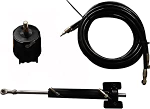 Woqi WQWJ Hydraulic Steering Kit with Helm Pump, Compact Cylinder, Tubing for Inboard Up to 150hp