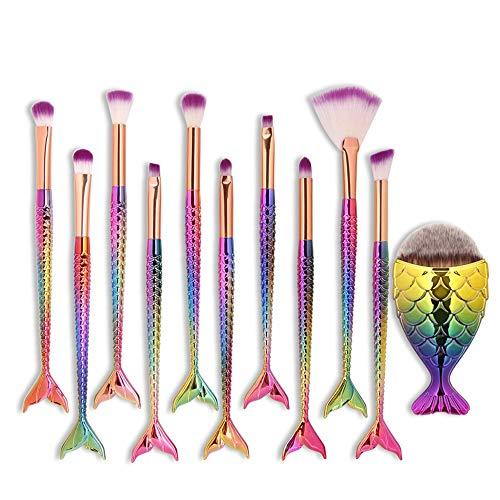 Pinceau de maquillage sirène Visage Ombre à paupières Eyeliner Foundation Blush Pinceau à lèvres pour les lèvres Poudre Liquide Poudre (11pcs) Pinceaux à maquillage LTJHHX