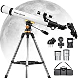 Telescopes for Adults Astronomy, 70mm Aperture and 700mm Focal Length Professional Refractor Telescope for Kids and Beginners with Phone Adapter, AZ Mount and Tripod to Viewing Planets and Stars