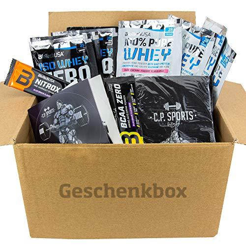 C.P. Sports BioTech USA 15 Artikel Mix Box/Probier Set/Proben/Testpaket – Whey Protein Eiweiß Amino Isolat Zero – Pulver – Booster – Griffpolster