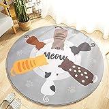 BAWAN Runde Flanell Cartoon Teppich Matte Wohnzimmer Schlafzimmer babybett rutschfeste krabbeldecke Katze zurück Schatten 150 * 150 cm
