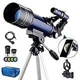 Amazon Brand –Telescopio para Adultos Principiantes, 70 mm de Apertura 400 mm AZ Mount Telescopio astronómico Refractor, telescopios portátiles de Viaje con Mochila