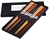 GLAMFIELDS Reusable Chopsticks Japanese Natural Wooden Classic Style 5 Pairs Lightweight Hand-Carved...