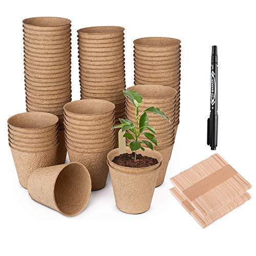 Hongyans 100 Piezas Macetas de Semillas Biodegradables Semilleros de Germinacion Macetas Fibra Mini Invernadero para Semillas con 100 Pz Etiquetas de Plantas 1 Rotuladores